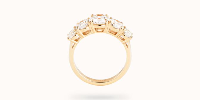 Bague solitaire Quintet - Or jaune 18K (4,50 g), 5 diamants 1,20 cts - Profil