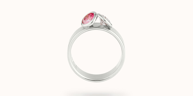 Bague 2 Courbet - Or blanc 18K (7,00g), 2 diamants (1 rose) 1ct - Profil - Courbet