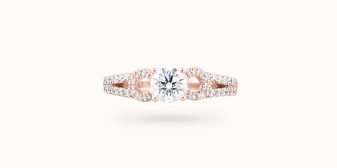 Bague fiançailles Infinity - Or rose 18K (3,90 g), diamants 0,70 ct - Face