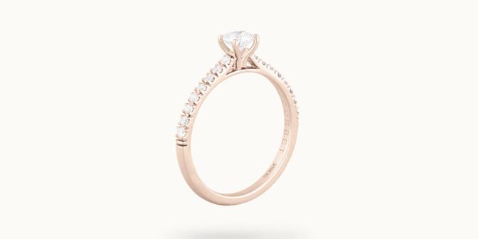 Solitaire quatre griffes - Or rose 18K (2,20 g), diamants 0,3 cts - Côté