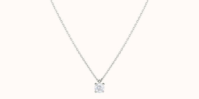 Collier quatre griffes - Or blanc 18K (2,00 g), diamant 0,2 ct - Face