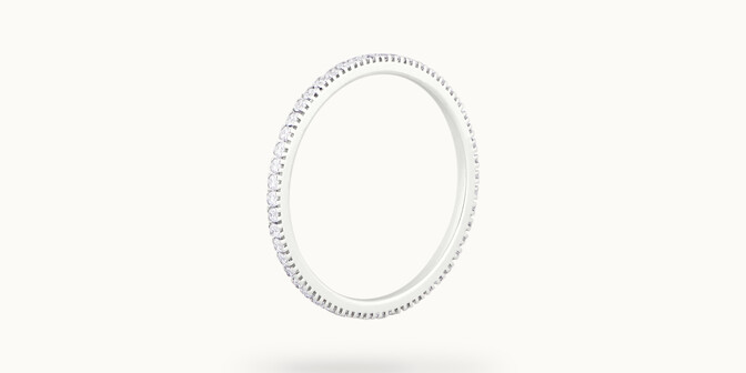 Alliance full-pavée (1 mm) - Or blanc 18K (1,00 g), diamants 0,30 ct - Côté - Courbet