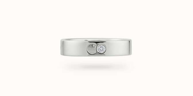 Bague Eclipse petit modèle - Or blanc 18K (4,20 g), 4 diamants 0,12 ct - Courbet