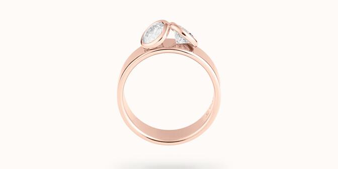 Bague 2Courbet - Or rose 18K (7,00 g),  diamant 1 carat - Profil - Courbet