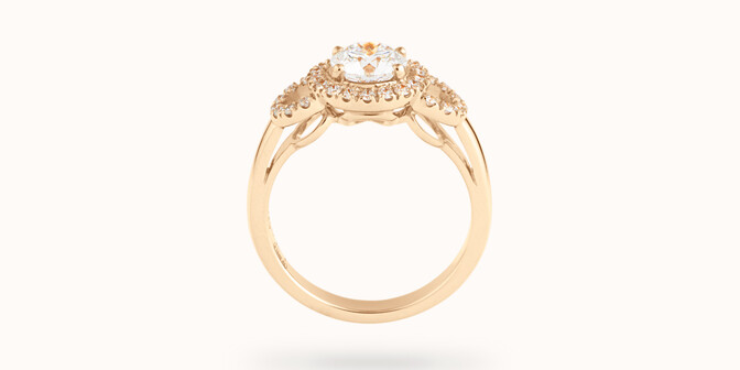 Bague Halo Courbet - Or jaune 18K (5,40 g), diamants 0.75 carat - Profil - Courbet
