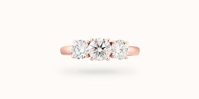 Bague solitaire Trio - Or rose 18K (4,30 g), 3 diamants 1,45 cts - Face