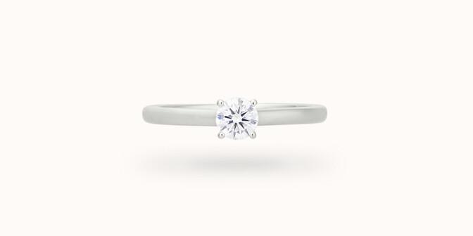 Solitaire quatre griffes - Or blanc 18K (2,70 g), diamant 0,1 carat - Face - Courbet