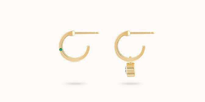 Boucles d'oreilles Pont des Arts - Or jaune 18K (4,54 g), diamant 0,30 ct - Profil - Courbet