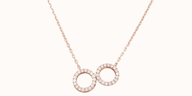 Collier - Or rose 18K (4,90 g), diamants 0,36 cts - Face - Courbet