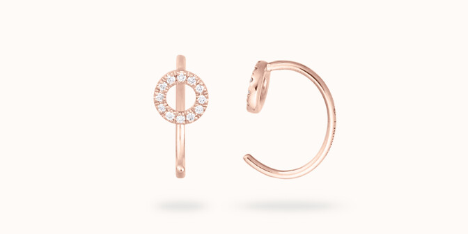 Boucles d'oreilles O2 - Or rose 18K (1,50 g), diamants 0,12 ct - Courbet