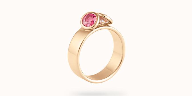 Bague 2 Courbet - Or jaune 18K (7,00g), 2 diamants (1 rose) 1ct -  Coté - Courbet