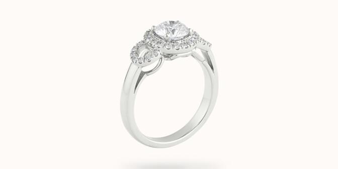 Bague Halo Courbet - Or blanc 18K (5,40 g), diamants 0.75 carat - Côté - Courbet