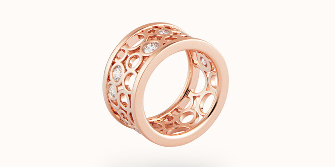 Bague Constellation - Or rose 18K (9,55 g) - diamants 0,63 carats - Face - Courbet