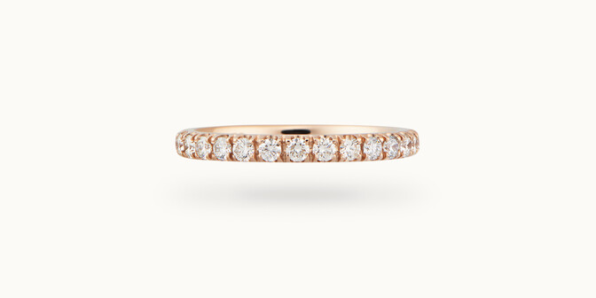 Alliance demi-pavée (2,3 mm) - Or rose 18K (2,90 g), diamants 0,40 ct - Courbet