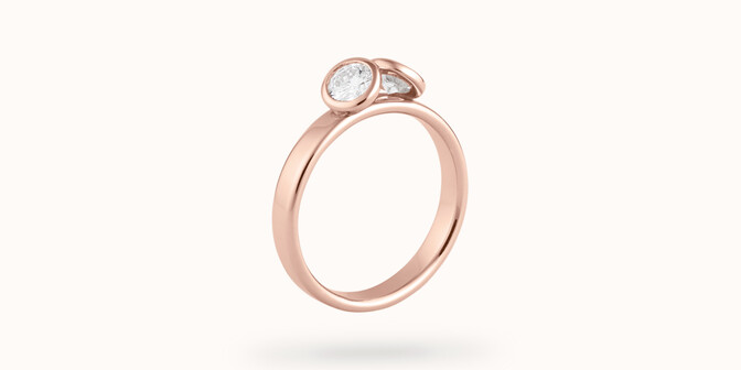 Bague 2Courbet - Or rose 18K (3,50 g),  diamant 1 carat - Face - Courbet