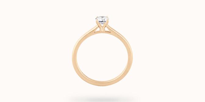 Solitaire quatre griffes - Or jaune 18K (2,70 g), diamant 0,1 carat - Profil - Courbet