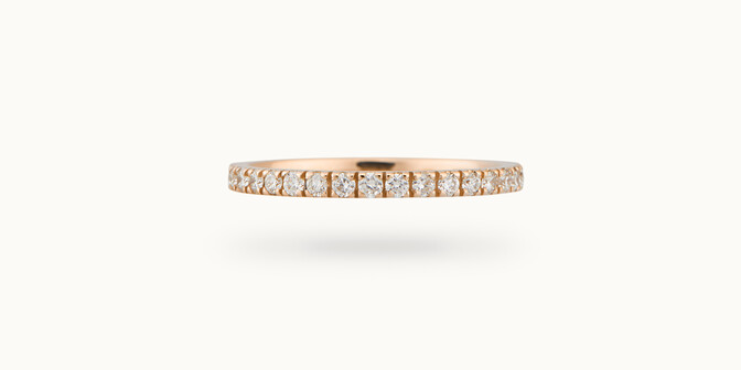 Alliance full-pavée (1,8mm) - Or rose 18K (1,50 g), diamants 0,60 ct - Courbet