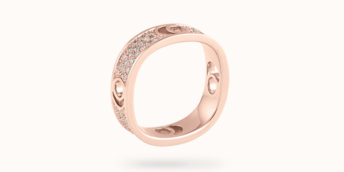 Bague Eclipse grand modèle - Or rose 18K (7,80 g), diamants 0,70 ct - Côté - Courbet