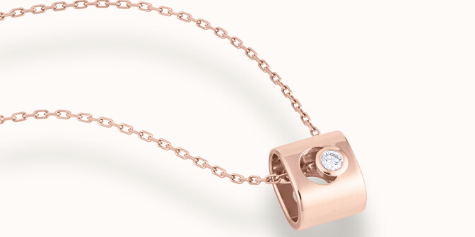 Collier Eclipse - Or rose 18K (6,30 g), diamant 0,1 ct - Mouvement - Courbet