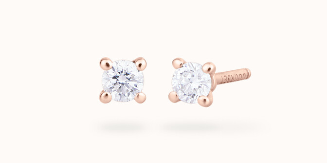 Boucles d'oreilles quatre griffes - Or rose 18K (1,00 g), 2 diamants 0,20 ct - Courbet