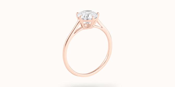 Bague solitaire cinq griffes - Or rose 18K (1,80 g), diamant 0,5 ct - Côté