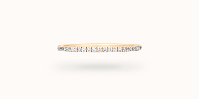 Alliance full-pavée (1 mm) - Or jaune 18K (1,00 g), diamants 0,30 ct