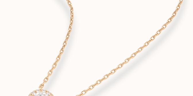 Collier Halo - Or jaune 18K (4,00 g), diamants 0,344 cts - Mouvement - Courbet