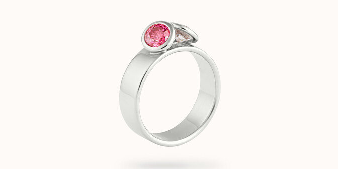 Bague 2 Courbet - Or blanc 18K (7,00g), 2 diamants (1 rose) 1ct - Côté - Courbet