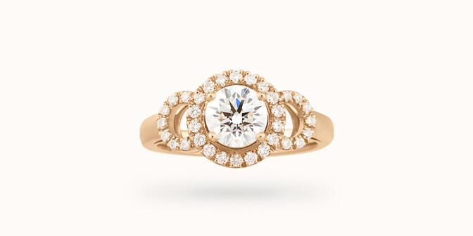 Bague fiançailles Halo - Or jaune 18K (6,00 g), diamants 1,25 cts - Face