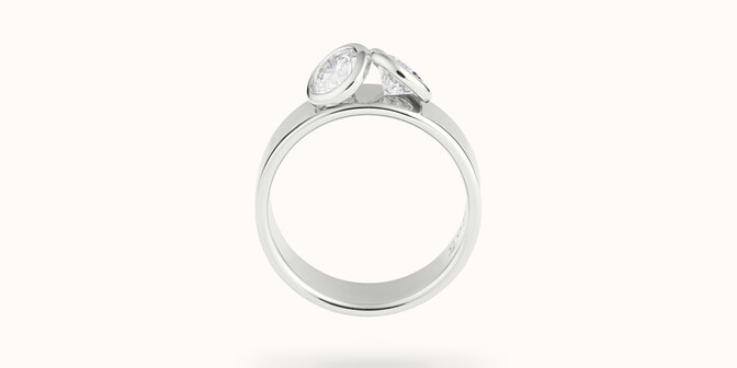 Bague 2 Courbet - Or blanc 18K (7,00g), 2 diamants 1ct - Profil - Courbet