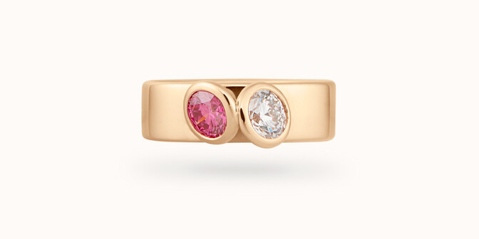 Bague 2 Courbet - Or jaune 18K (7,00g), 2 diamants (1 rose) 1ct - Face - Courbet