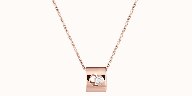 Collier Eclipse - Or rose 18K (6,30 g), diamant 0,1 ct - Face - Courbet