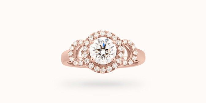 Bague fiançailles Halo - Or rose 18K (6,00 g), diamants 1,25 cts