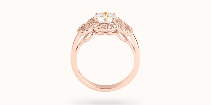 Bague fiançailles Halo - Or rose 18K (6,00 g), diamants 1,25 cts - Profil