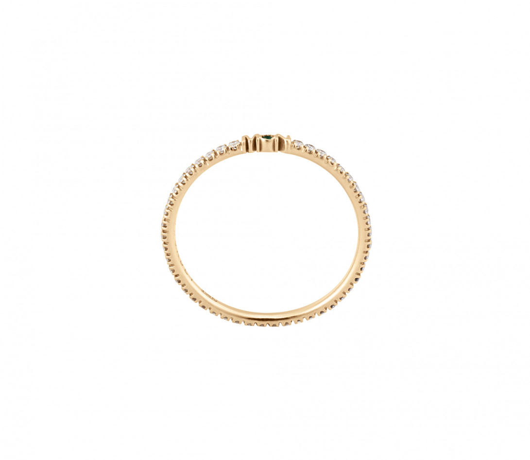 Alliance full-pavée (1,4 mm) - Or jaune 18K (1,00 g), diamants 0,20 ct - vue de côté