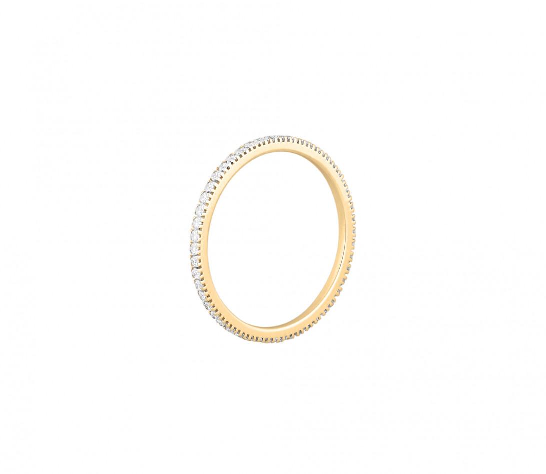 Alliance full-pavée (1 mm) - Or jaune 18K (1,00 g), diamants 0,30 ct - Profil