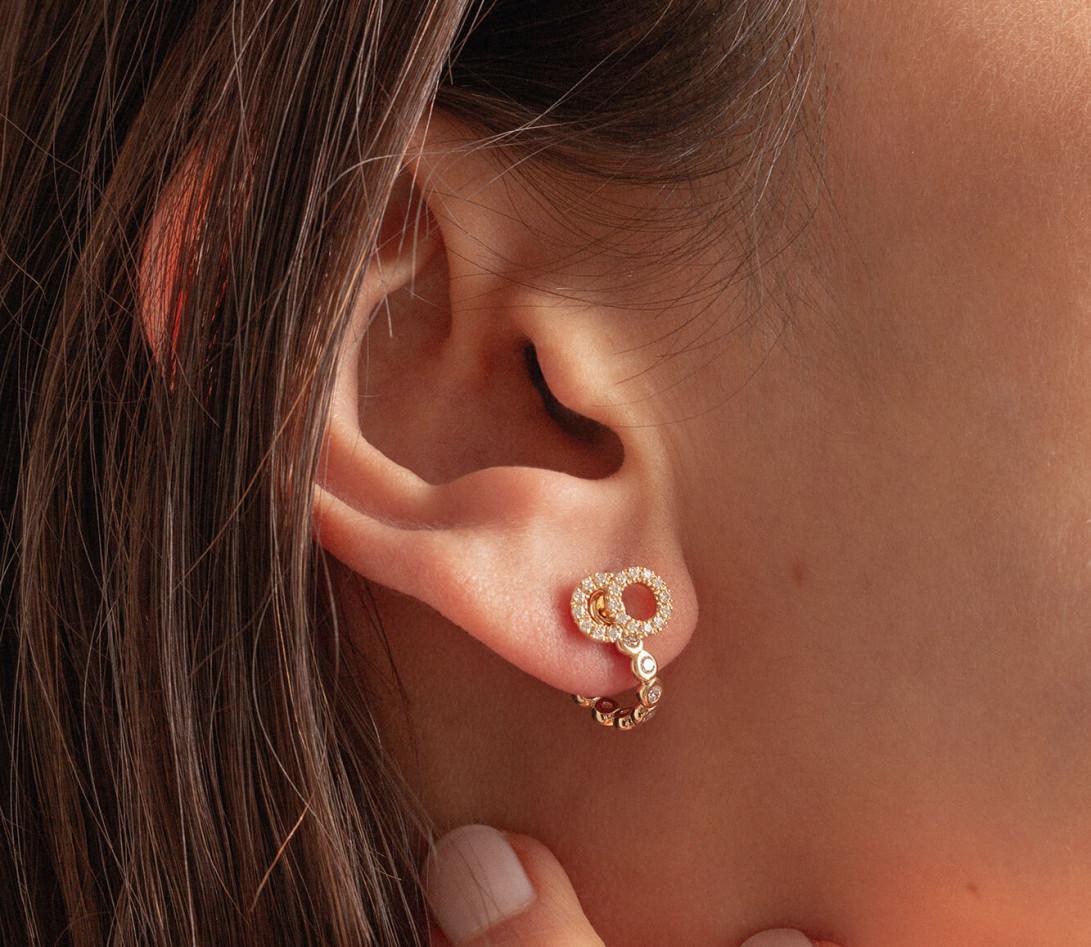 Accessoire mono boucle d'oreille ORIGINE en or jaune - Vue 5