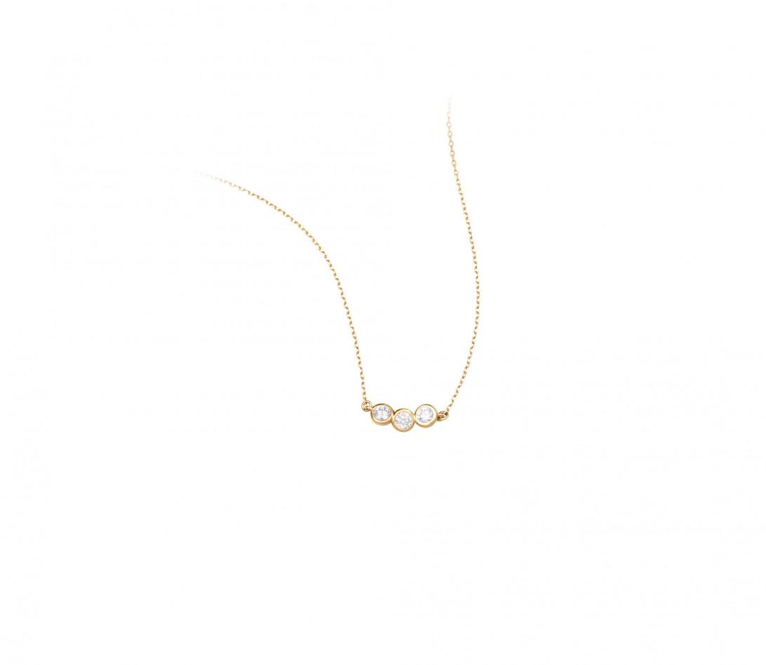 Collier 2 COURBET en or jaune 18K (2,00g) - diamants synthétiques - Courbet - Vue 2