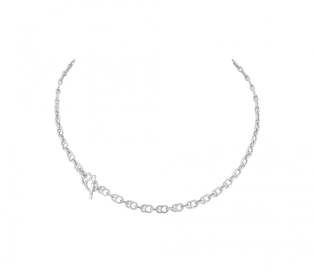 Collier chaîne CELESTE 38cm fermoir pavé en or blanc - P1