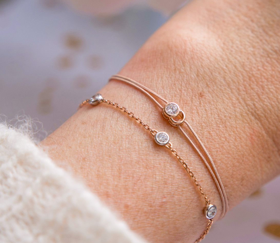 Bracelet Origine - Or rose - 3 diamants - 0,3 cts - Vue 3