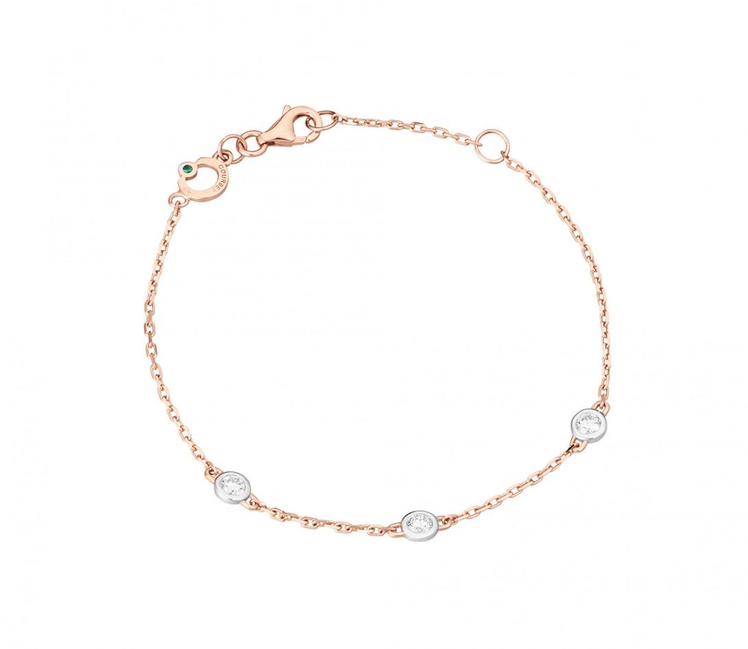 Bracelet Origine - Or rose - 3 diamants - 0,3 cts - Rond