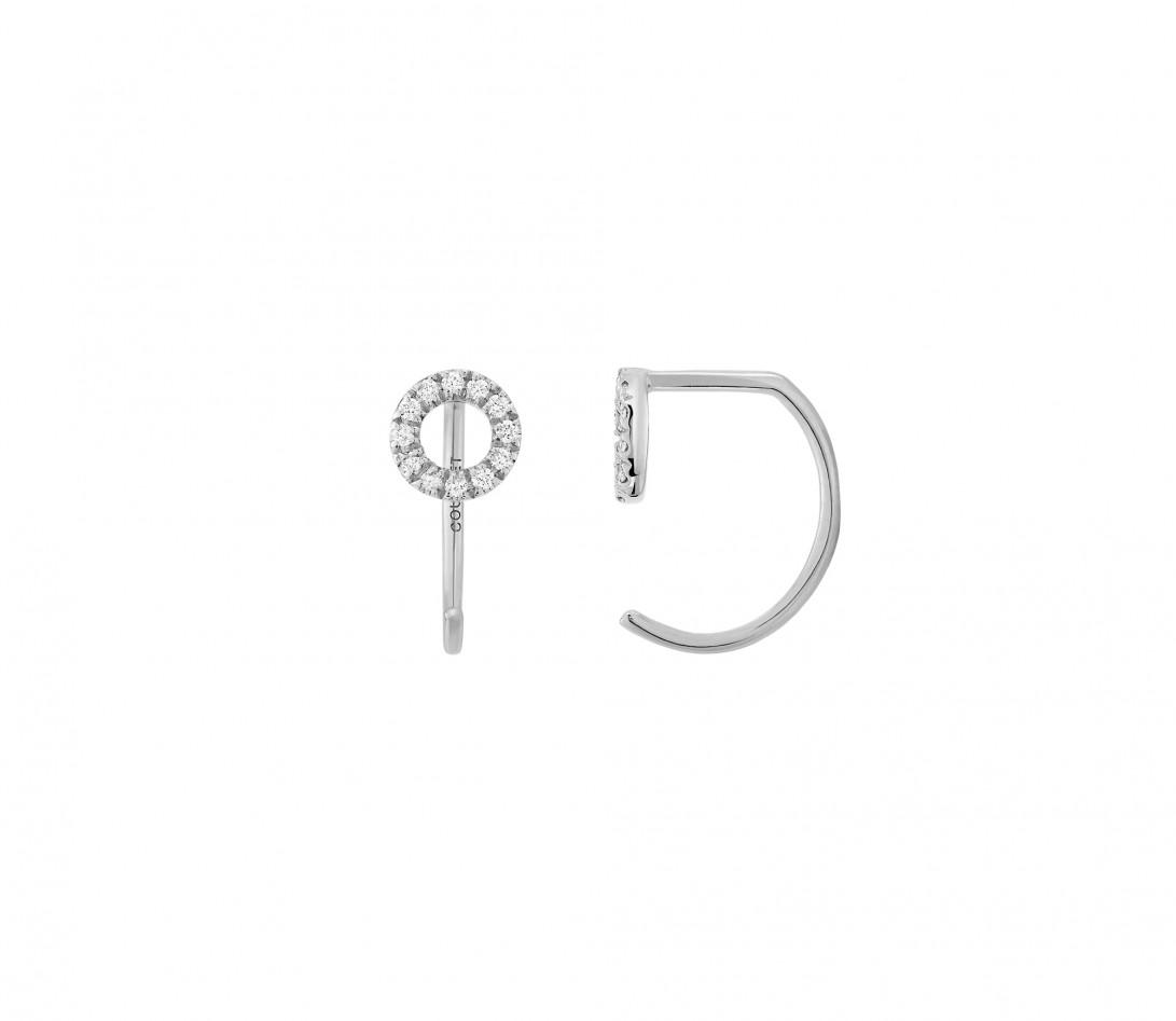 Boucles d'oreilles - Or blanc 18K (1,50 g), diamants 0,12 cts