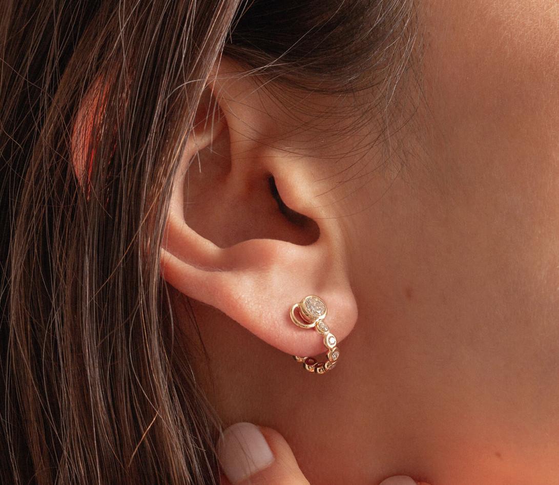 Accessoire mono boucle d'oreille ORIGINE en or jaune - Vue 6