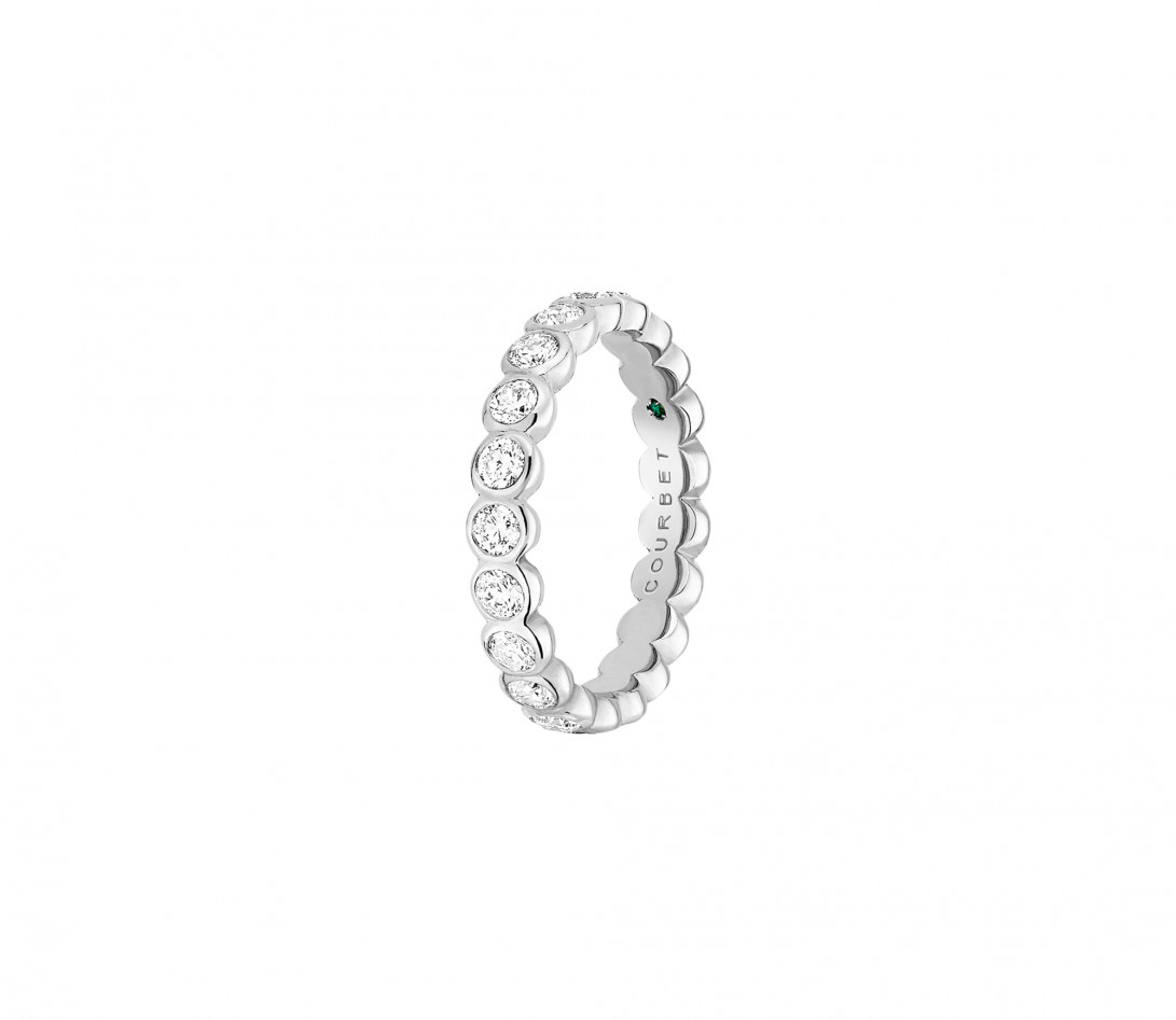 Anneau Or Blanc et Diamant de synthèse 1 ct - Origine - Courbet - Vue 2
