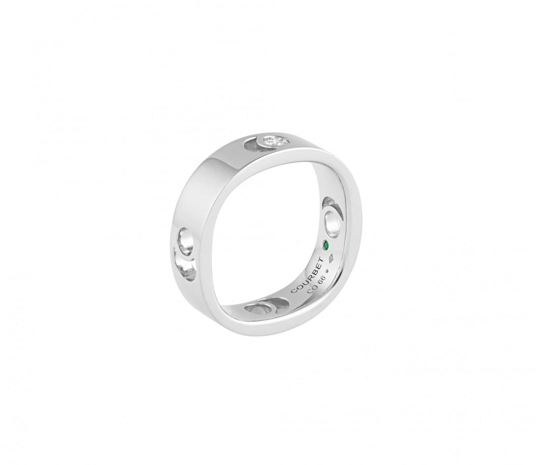 Bague Eclipse grand modèle - Or blanc 18K (7,80 g), diamant 0,10 ct - Vue 3