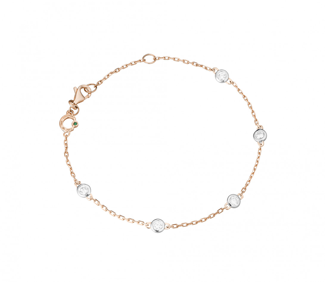Bracelet Origine - Or rose - 5 diamants - 0,5 ct - Rond