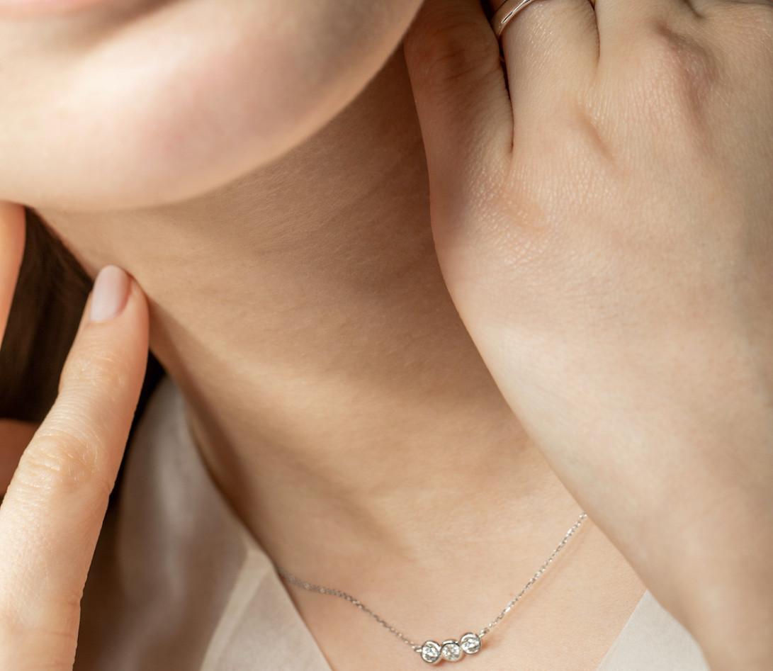 Collier Or Blanc et Diamants de synthèse 0,3 ct - 2 Courbet - Courbet - Vue 3