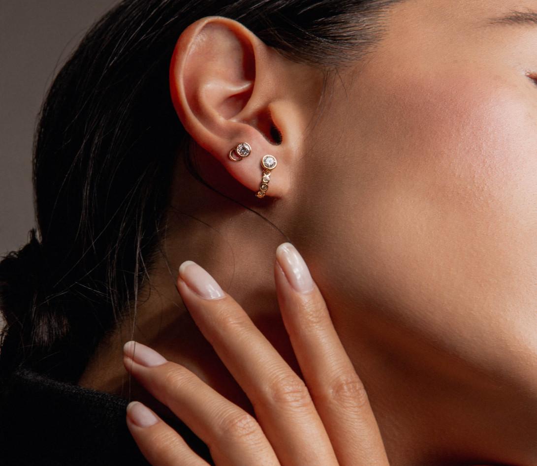 Accessoire mono boucle d'oreille ORIGINE en or rose - Vue 4