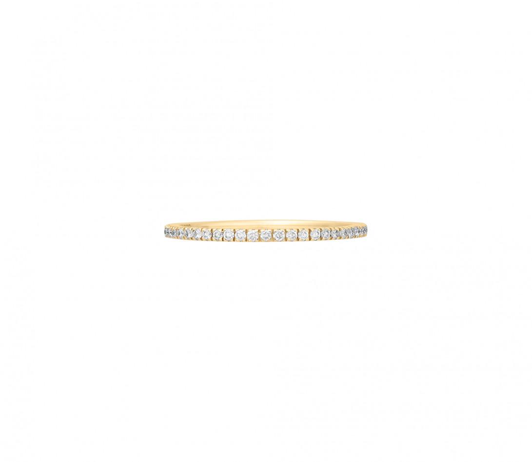 Alliance, 1,5mm demi-pavée en or jaune, vu de face