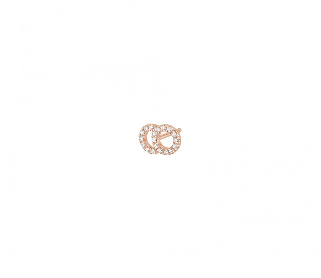 Mono boucle d'oreille puce CELESTE PM pavée en or rose - Vue 2